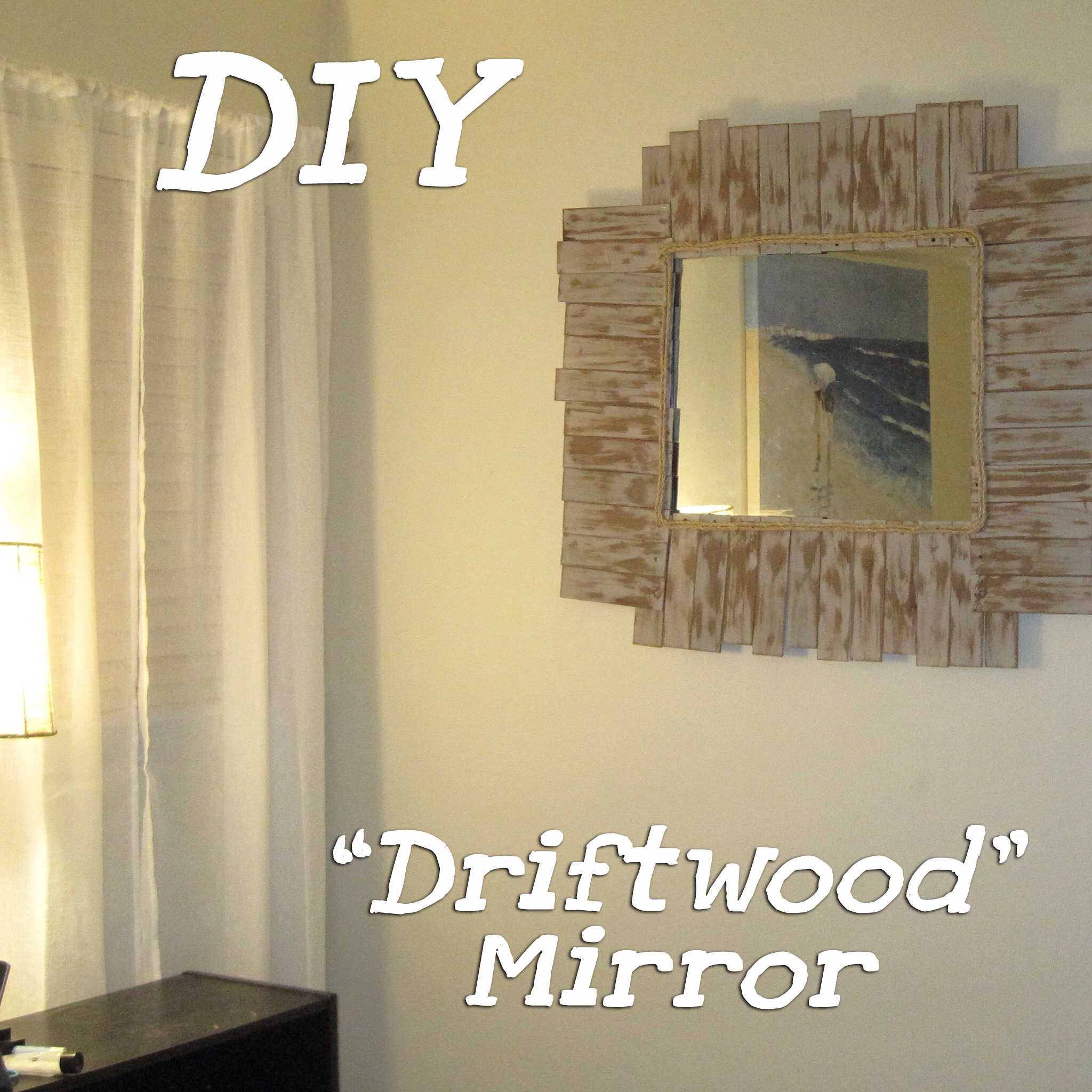 "DIY ""Driftwood"" Mirror From Upcycled Blind Slats"