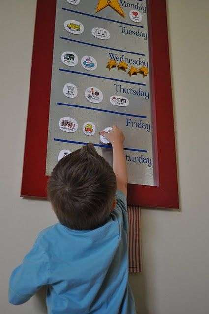 Encourage responsibility by hanging a large calendar or whiteboard on the wall